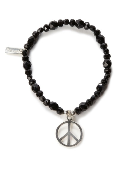 ChloBo Exclusive Large Black Sparkle Bracelet with Peace Charm main image