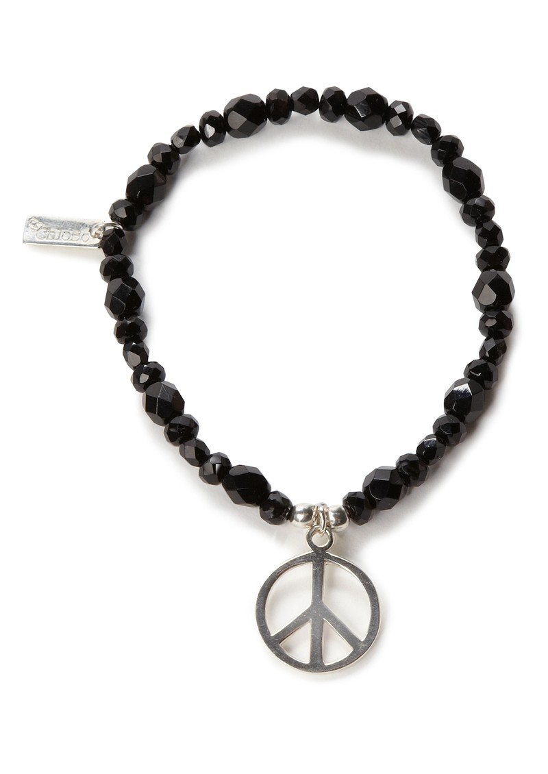 Exclusive Large Black Sparkle Bracelet with Peace Charm main image