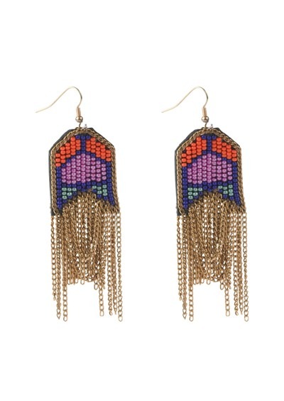 Fiona Paxton Mareli Bead & Chain Earrings - Pink main image