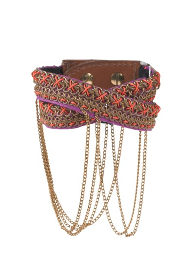 Fiona Paxton Nixie Chain Cuff - Gold on Pink main image