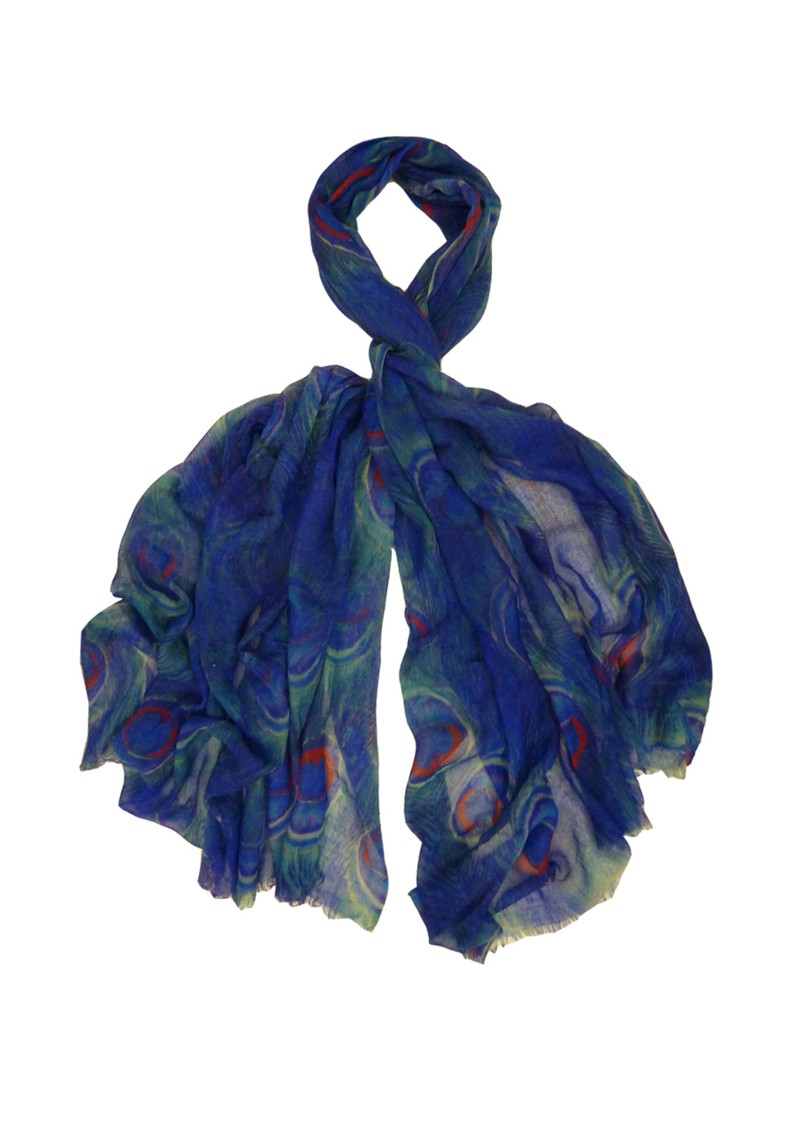Pfeiffer Peacock Print Scarf - Blue main image