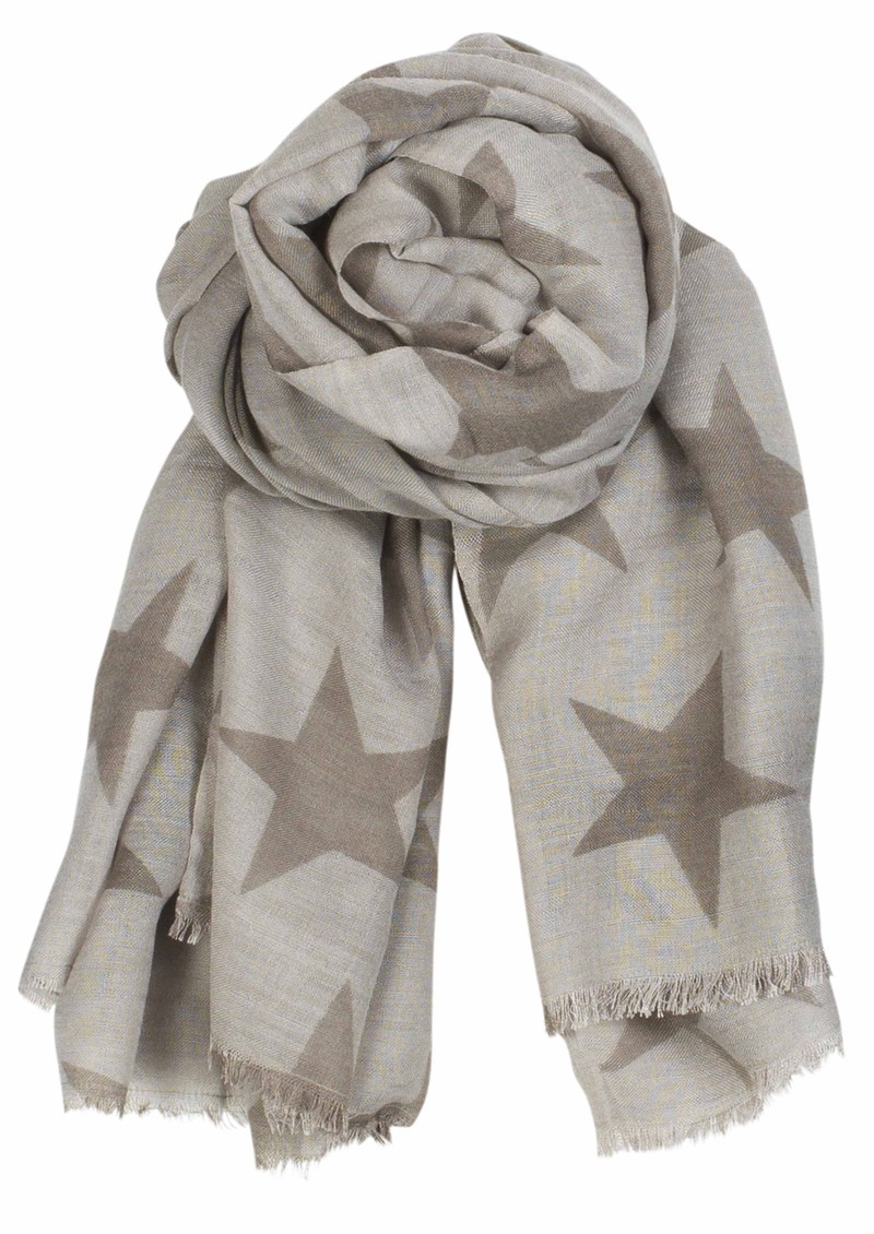 Supersize Nova Star Silk Blend Scarf - Silver & Beige main image
