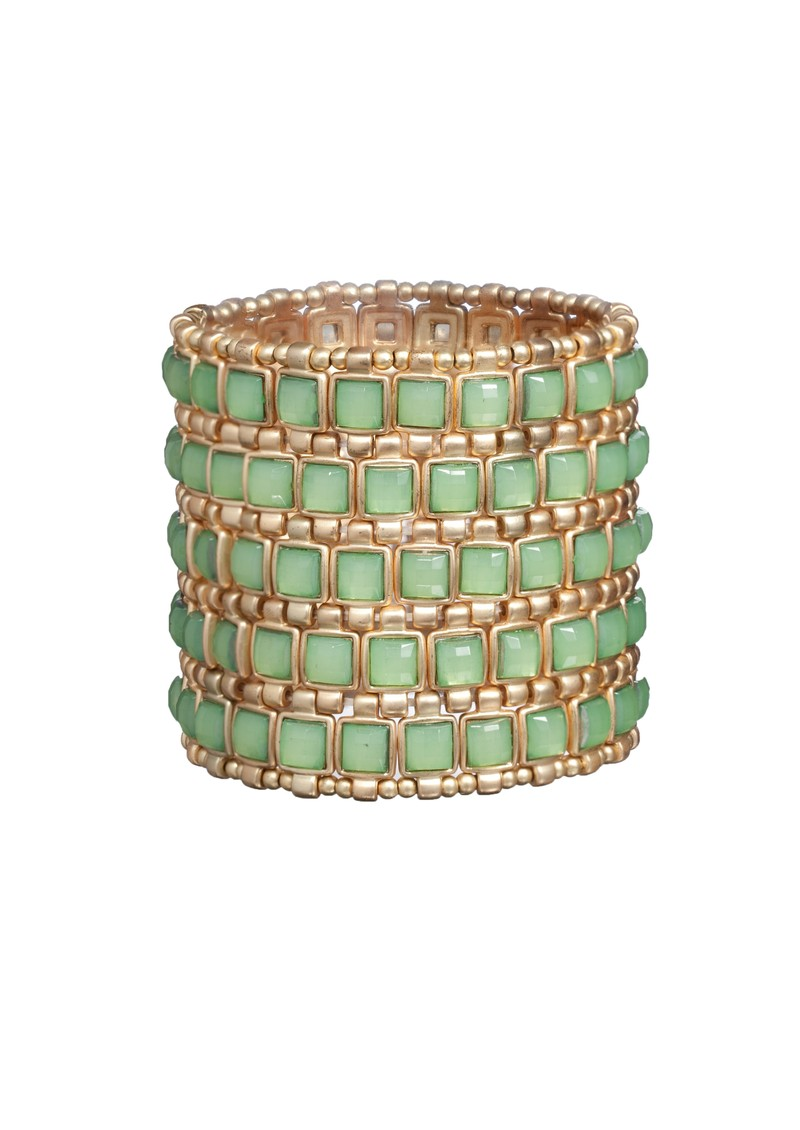 Ingenious Gold Stretch Cuff With Squares - Green main image