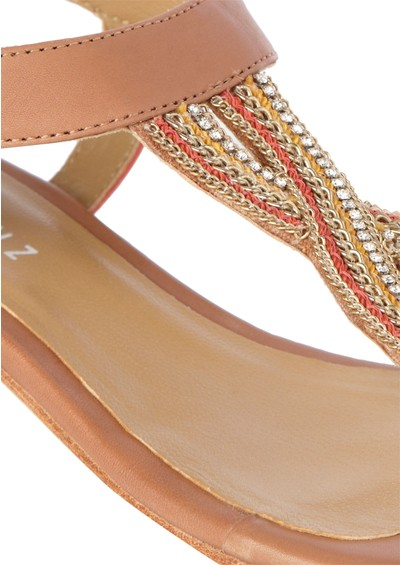 Lola Cruz Buckle Sandals - Coral main image