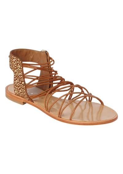 Lola Cruz Elastic Flat Sandals - Brown main image