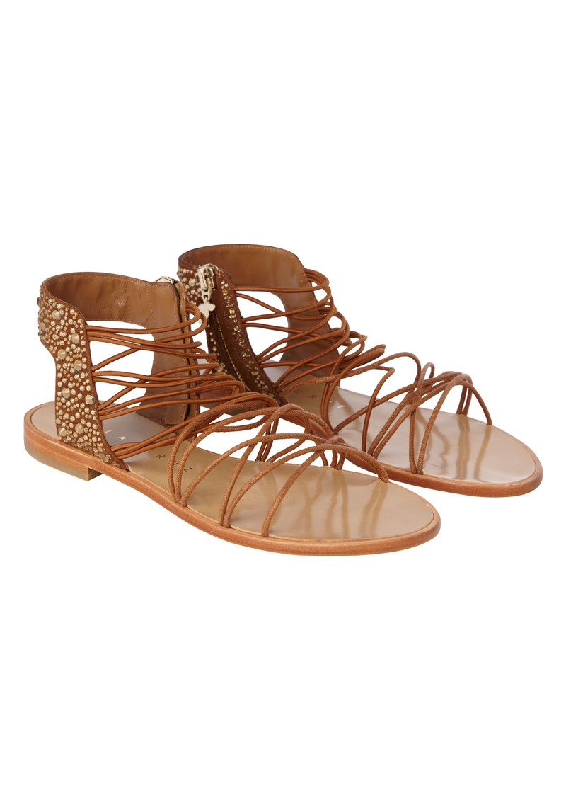 Elastic Flat Sandals - Brown main image