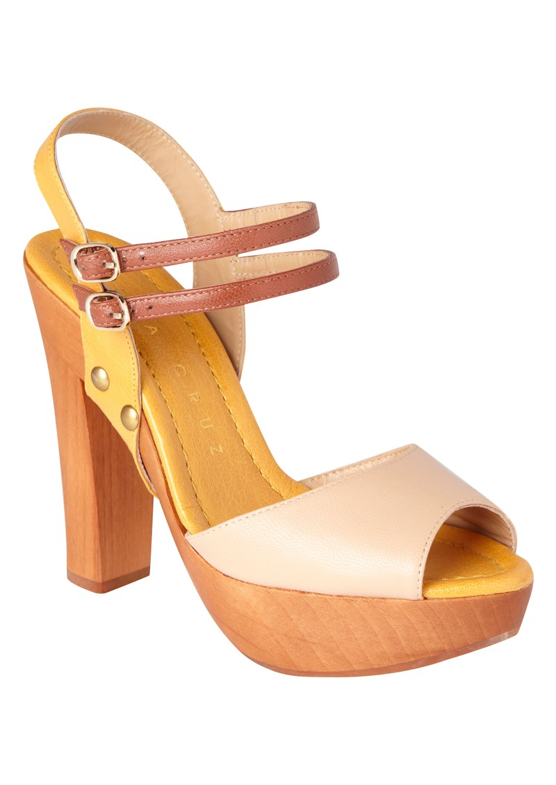 Wood Platform Heels - Beige and Yellow main image