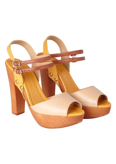 Lola Cruz Wood Platform Heels - Beige and Yellow main image