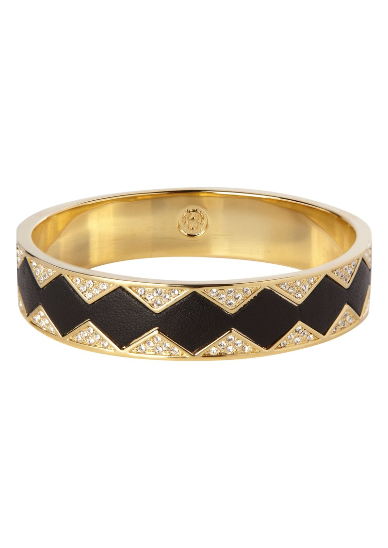 Gold Crystal Pave Bangle - Black Leather main image