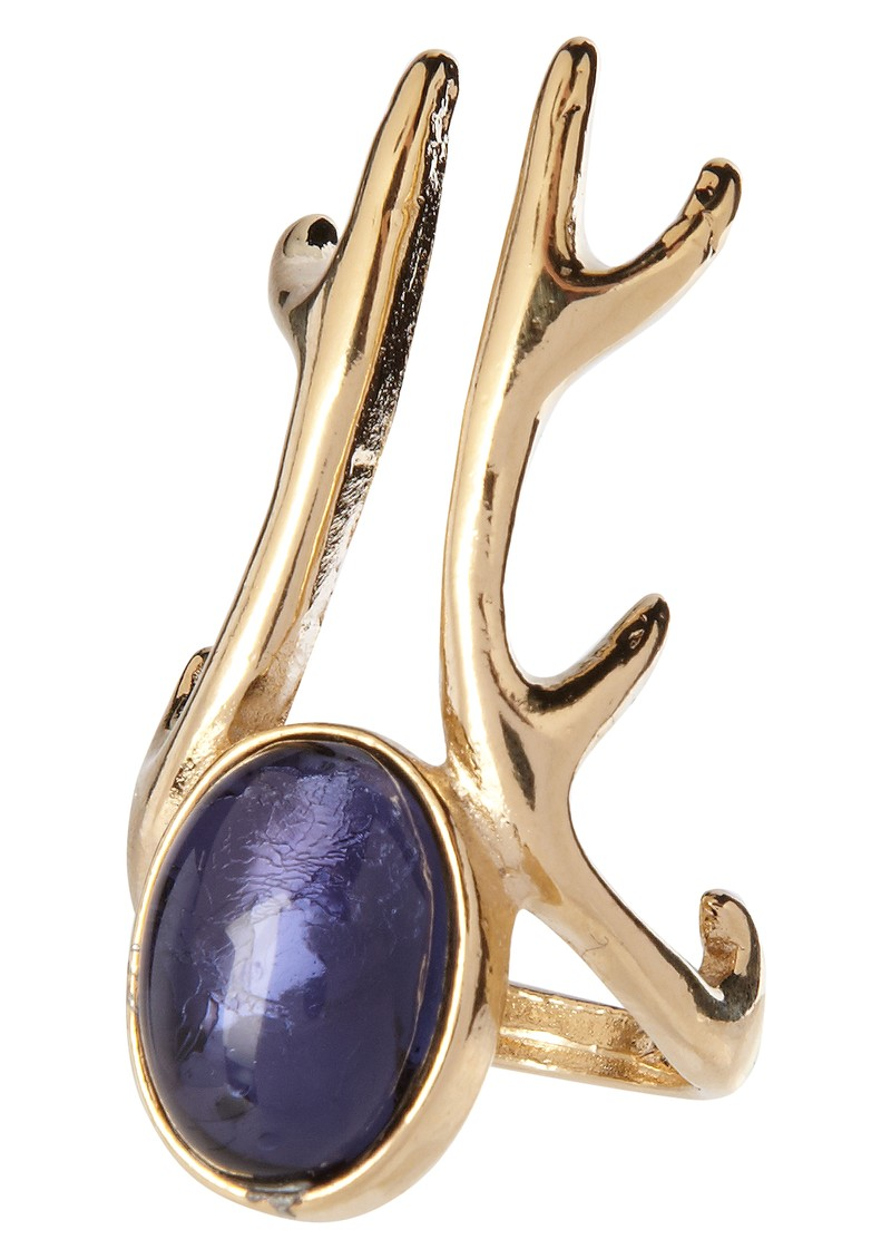 Antler Long Ring  - Blue main image
