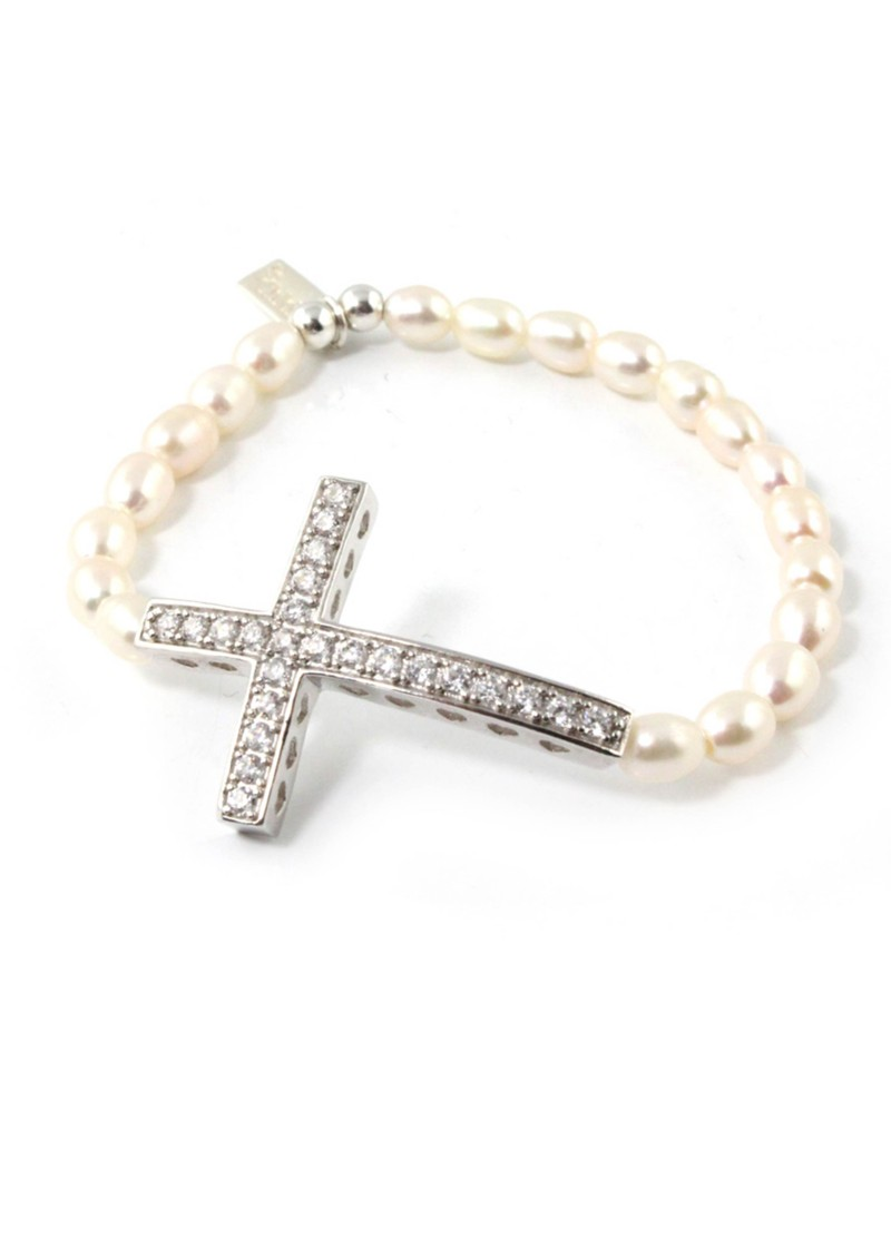 Oystins Pearl Small Cross Bracelet main image