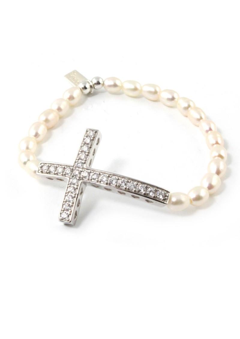 ChloBo Oystins Pearl Small Cross Bracelet main image