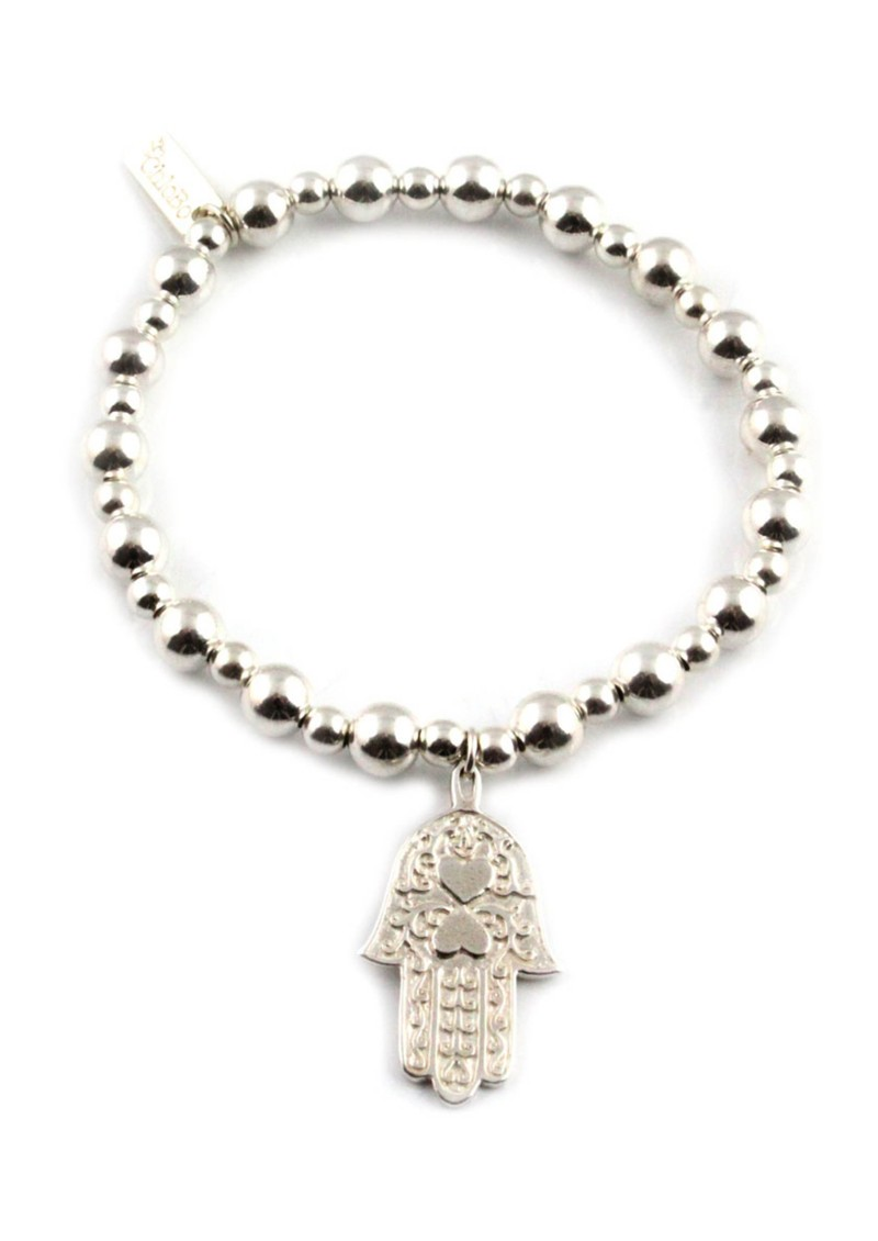 Mini Small Ball Bracelet with Hamsa Hand Charm - Silver main image
