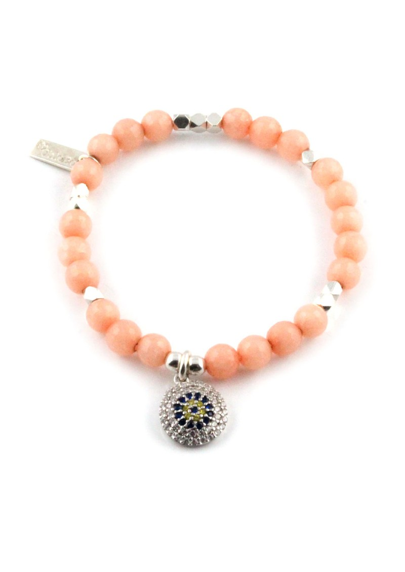 Dreamlands Large Peach Coral Bracelet with Round Evil Eye Charm main image