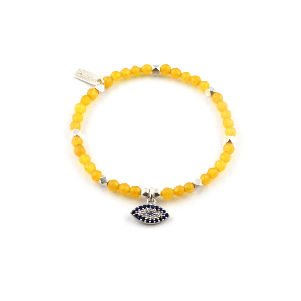 Dreamlands Yellow Jade Wide Evil Eye Bracelet
