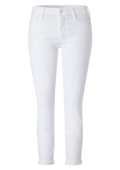 Mother High Waisted Cropped Skinny Jeans - White main image
