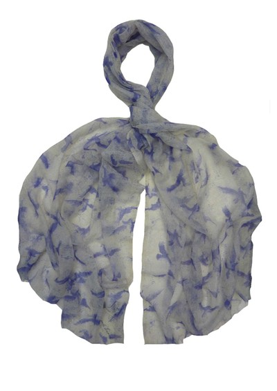 Lily and Lionel Parker Blue Birds Silk & Cashmere Blend Scarf - Ivory main image