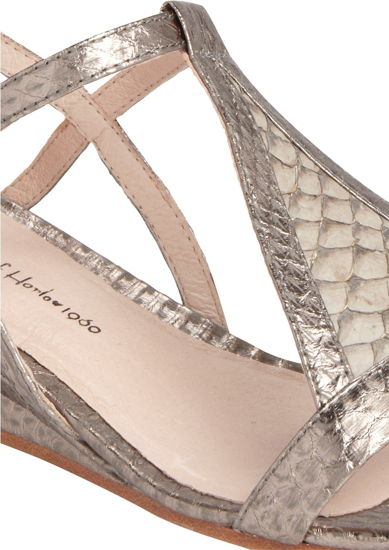 House Of Harlow Casmine Snakeskin Sandals - Pewter main image