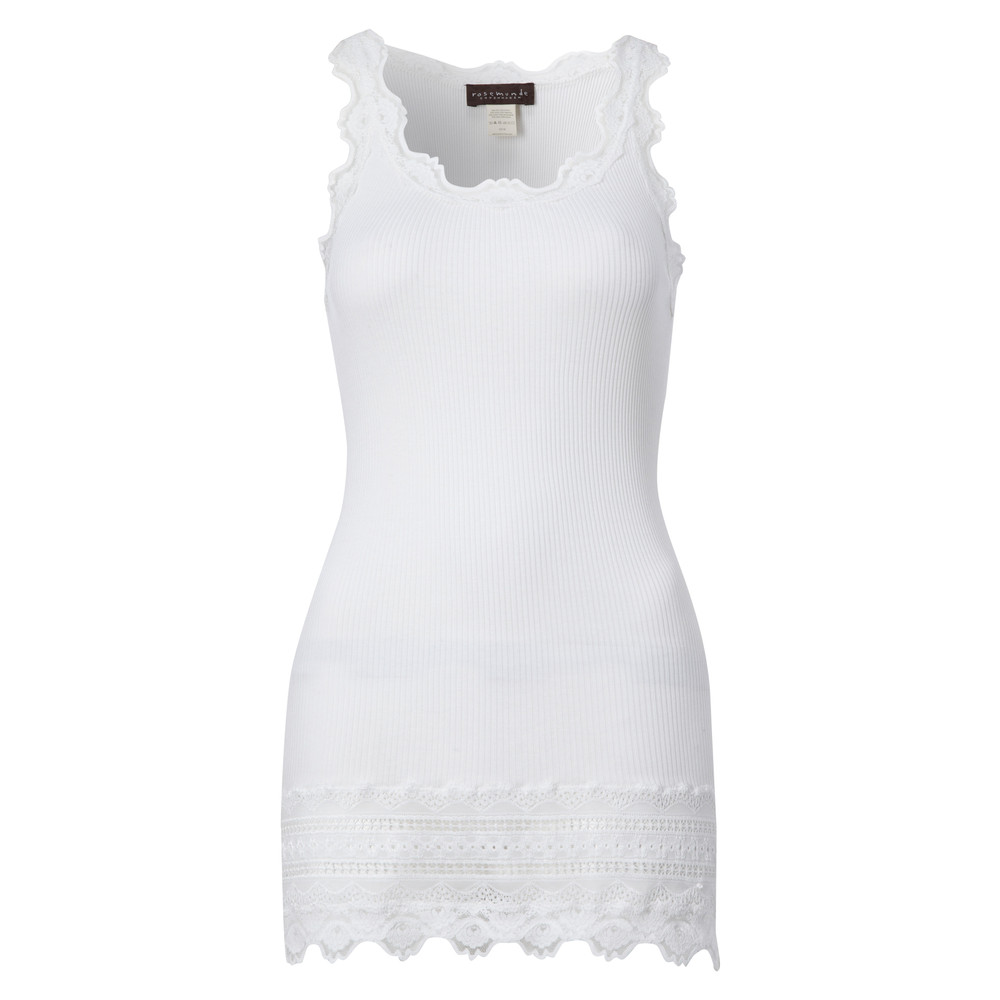 Wide Lace Silk Blend Vest - White