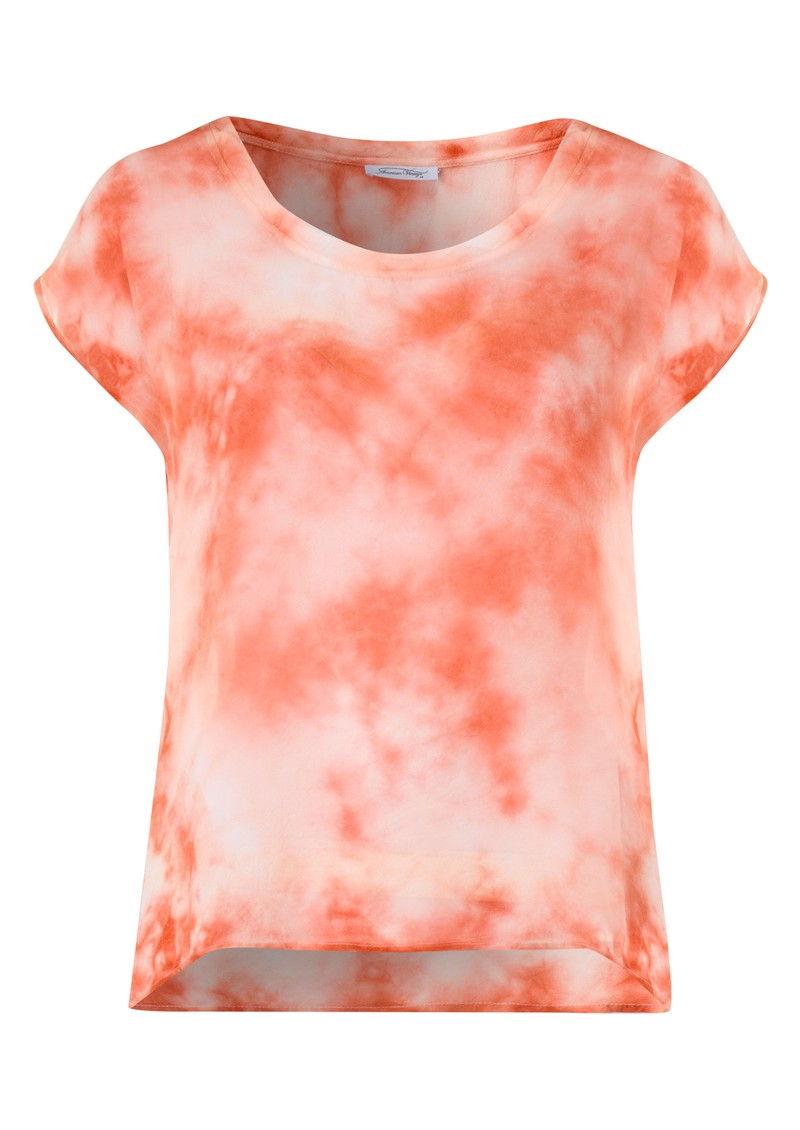 Titusville Tie Dye Silk Top - Flash Mandarin main image