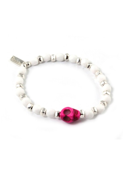 ChloBo Ice Pop Silver & White Bracelet with Skull Charm - Pink main image