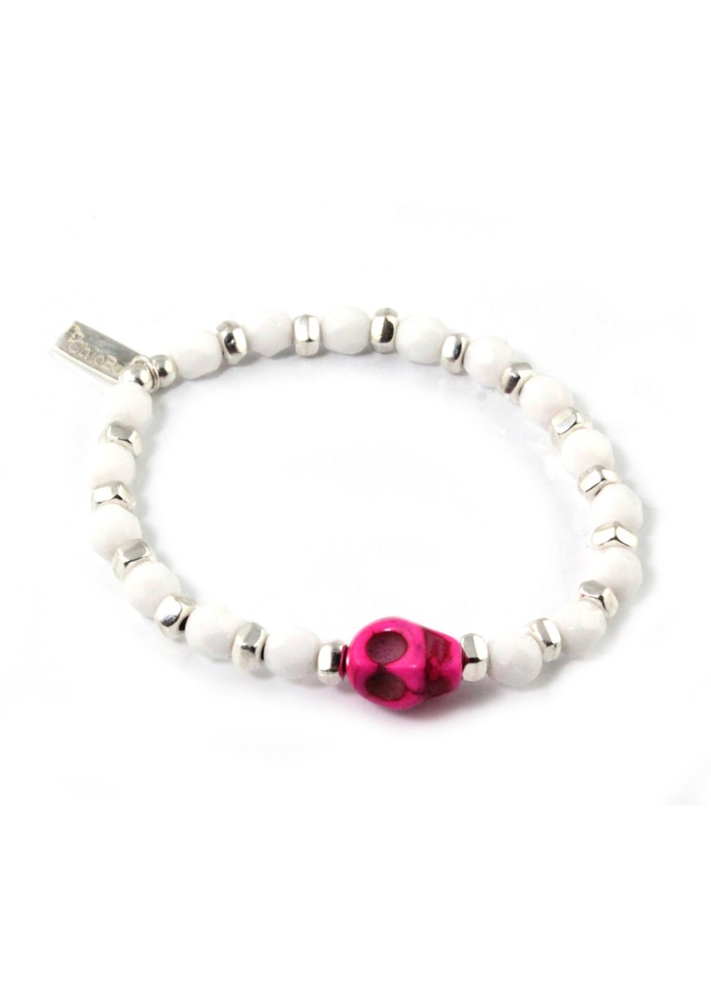 Ice Pop Silver & White Bracelet with Skull Charm - Pink main image