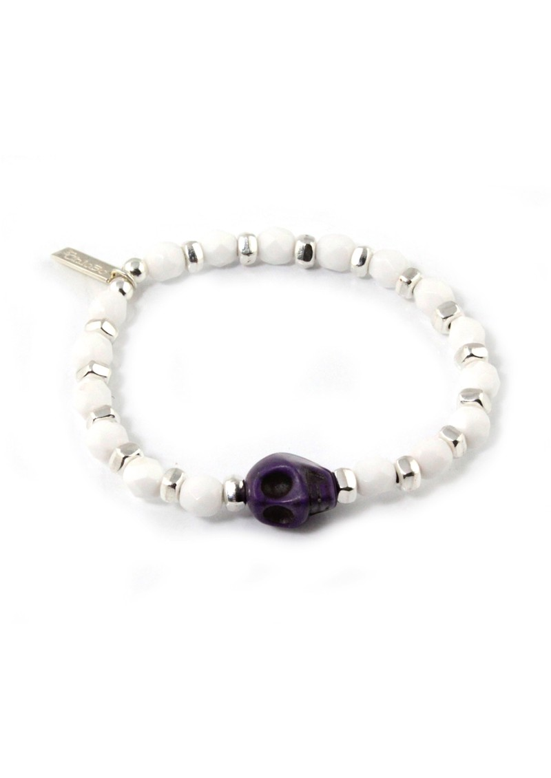 Ice Pop Silver & White Bracelet with Skull Charm - Purple main image