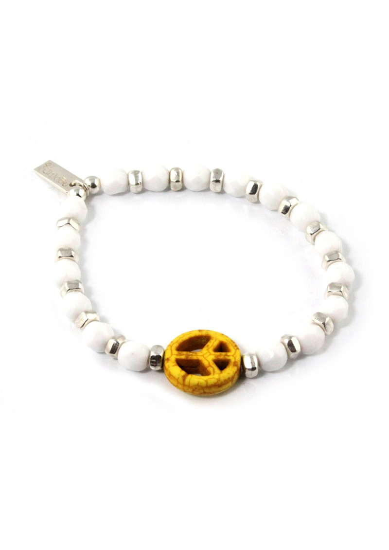 Ice Pop Silver & White Bracelet with Peace Charm - Yellow main image