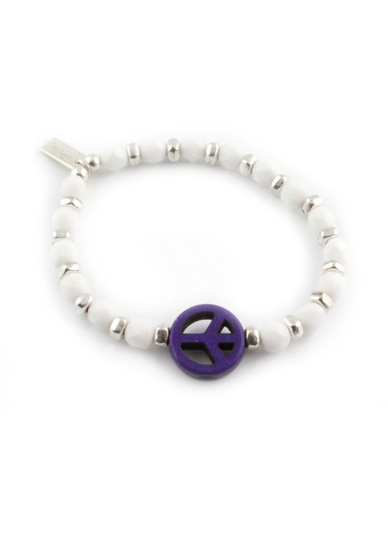 Ice Pop Silver & White Bracelet with Peace Charm - Purple main image