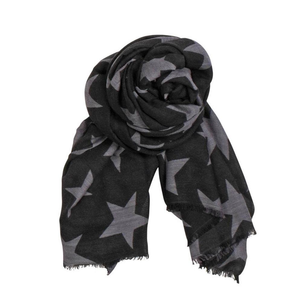 X Supersize Nova Star Silk Blend Scarf - Black