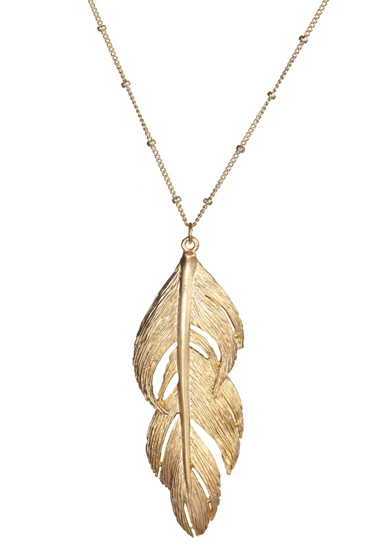 Ingenious Feather Necklace - Gold main image