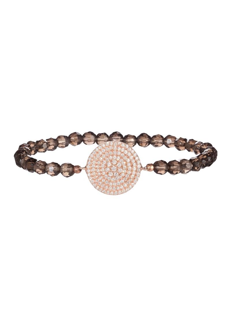 Ingenious Beaded Bracelet with Rose Gold Pave Circle - Smokey Quartz main image