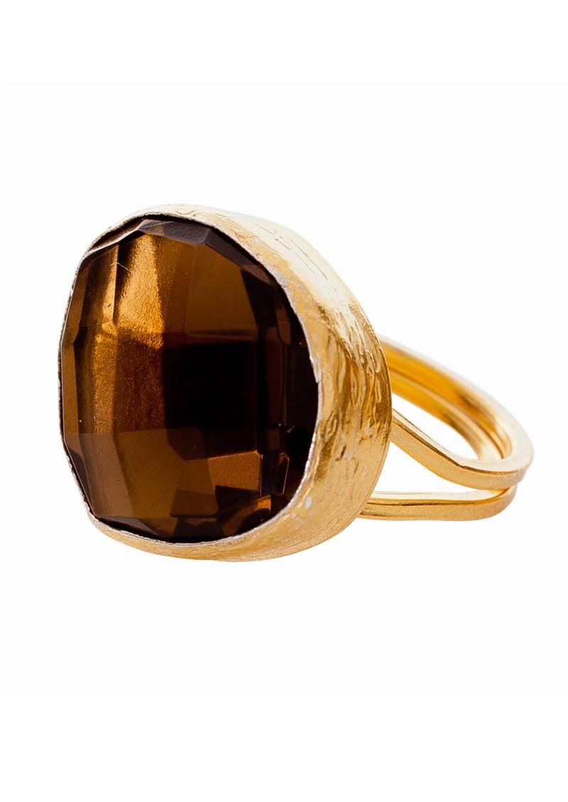 Ingenious Gold Adjustable Ring - Smokey main image