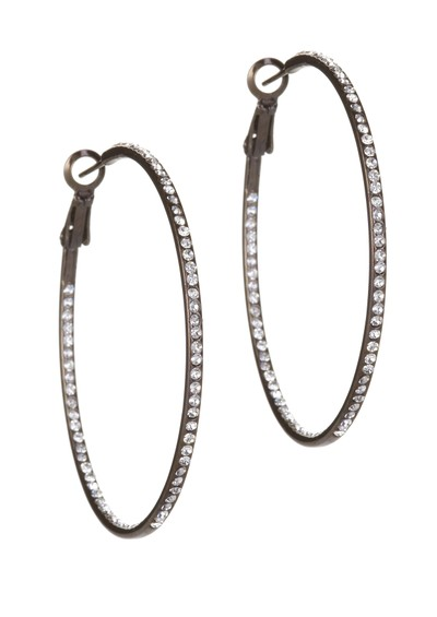 Ingenious Hoop Earrings with Cubic Zirconia stones - Black  main image