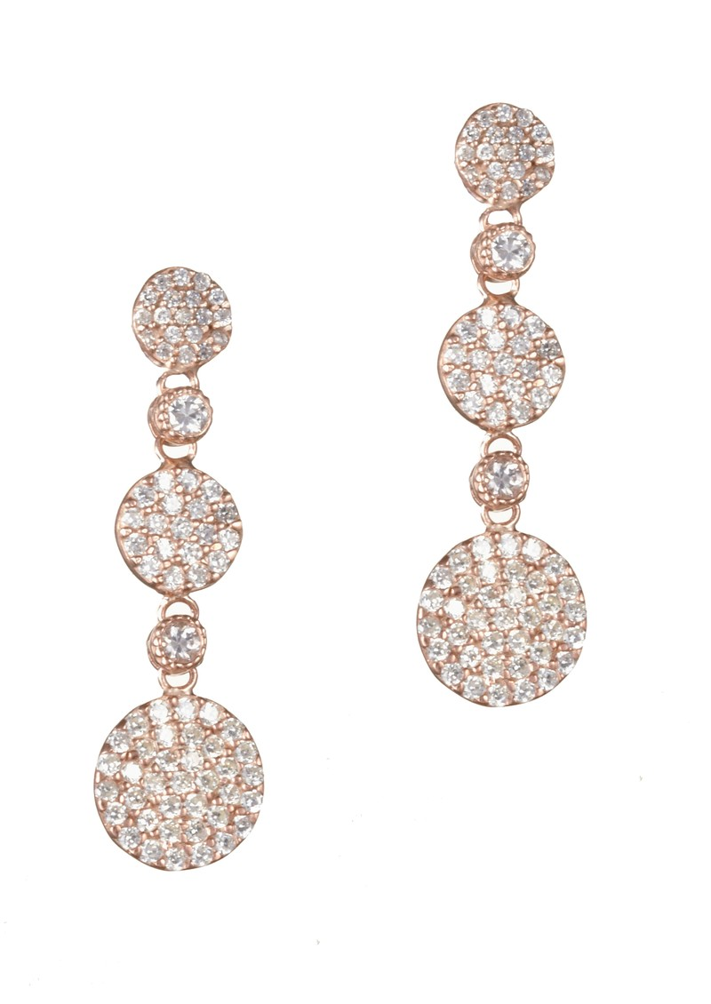 Rose Gold Three Drop Pave Earrings - Rose Gold main image