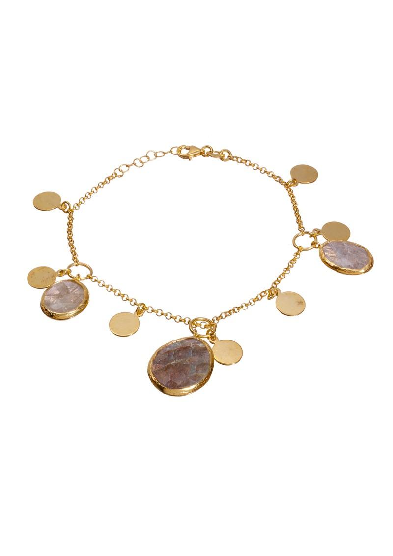 Ingenious Gold Bracelet with Hanging Coins - Labradorite main image