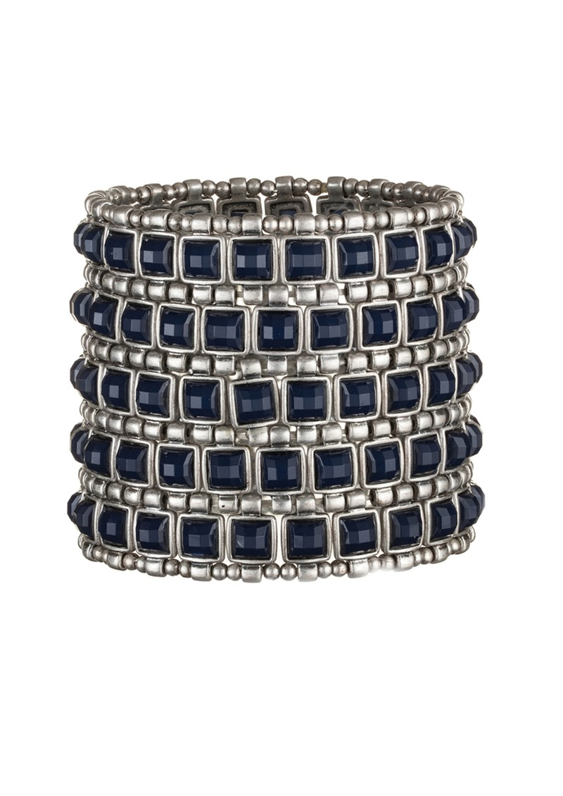 Stretch Square Cuff - Silver & Navy main image