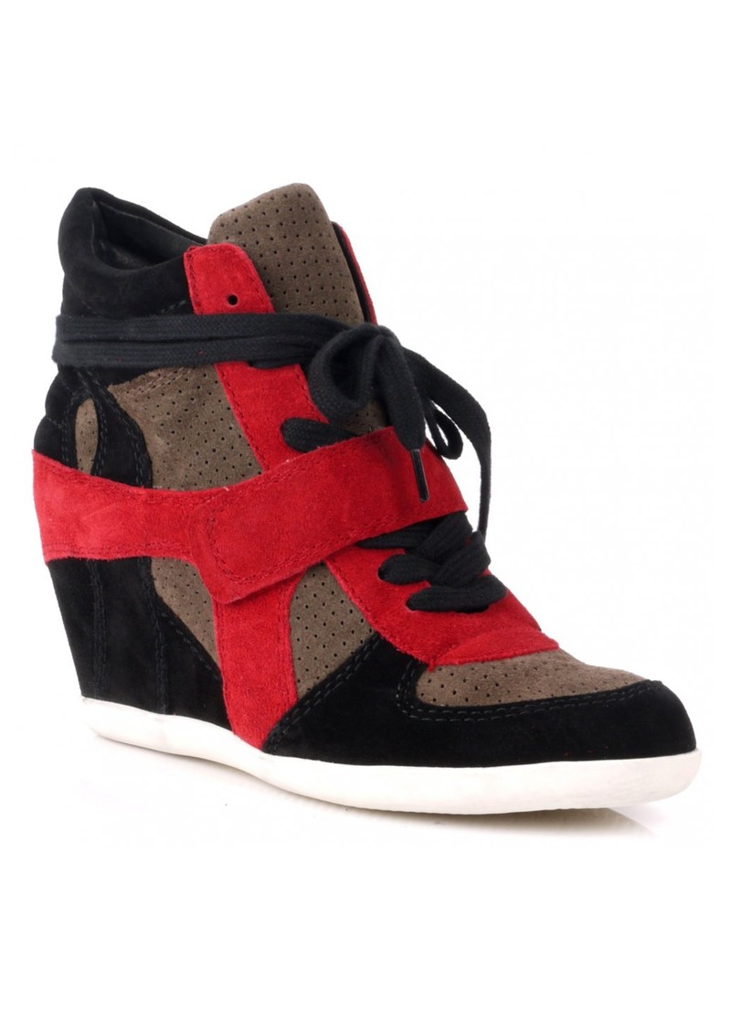 Ash Bowie Wedge Trainer - Black, Taupe & Rubis main image