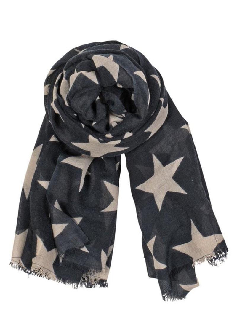 Becksondergaard X Supersize Nova Star Silk Blend Scarf - Navy & Beige main image
