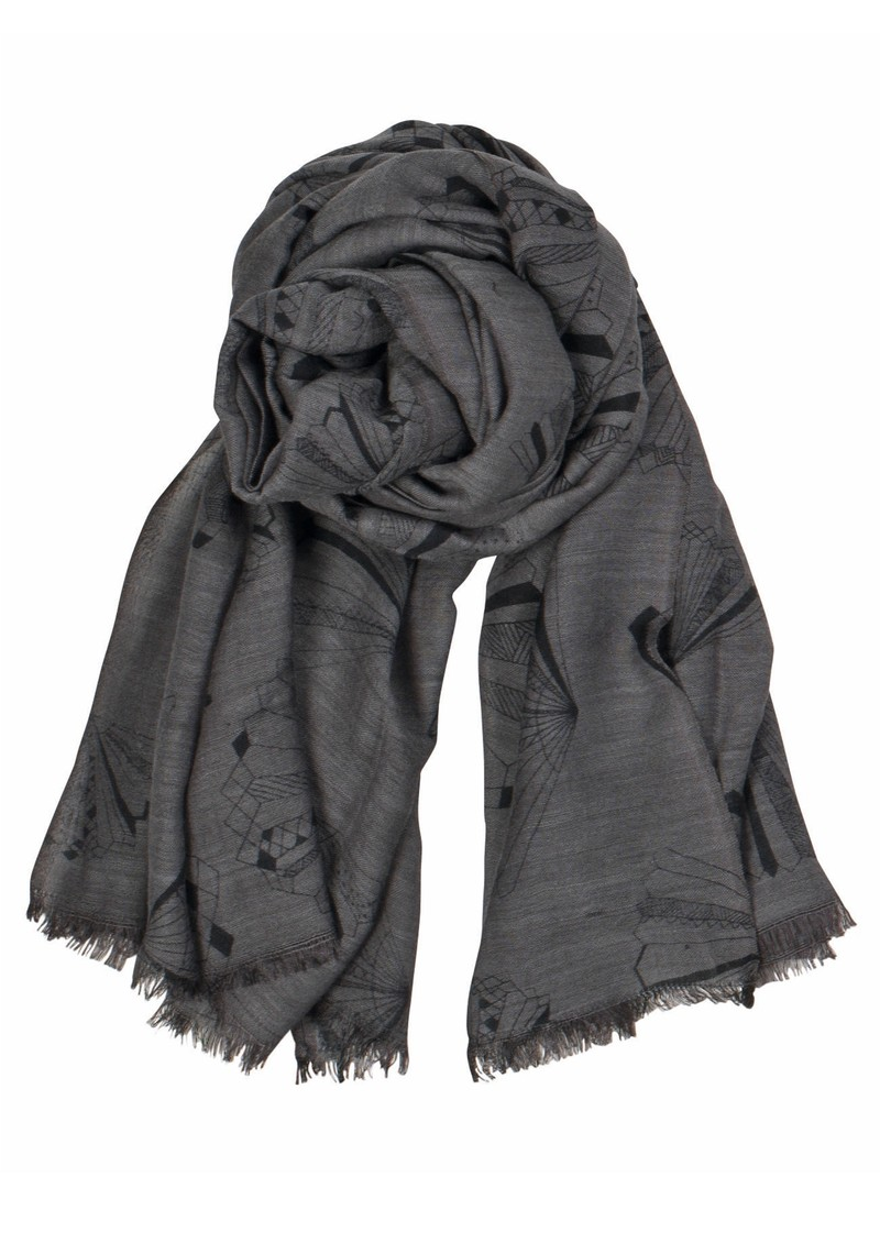 X Angelo Wool & Silk Blend Scarf - Greyish Plum main image