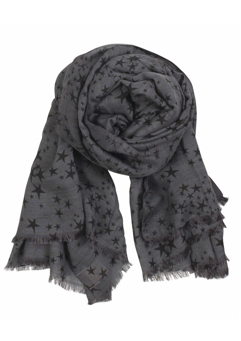 X Stamped Star Wool & Silk Blend Scarf - Grey main image