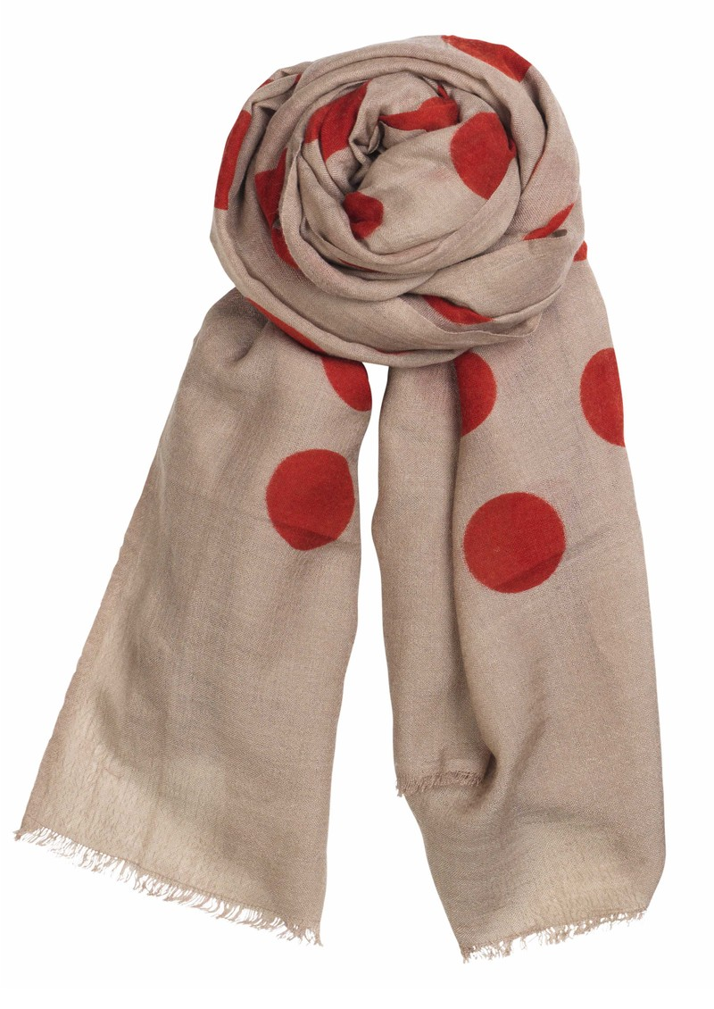 X Supersize Dots Wool & Silk Blend Scarf - Sand Ginger main image