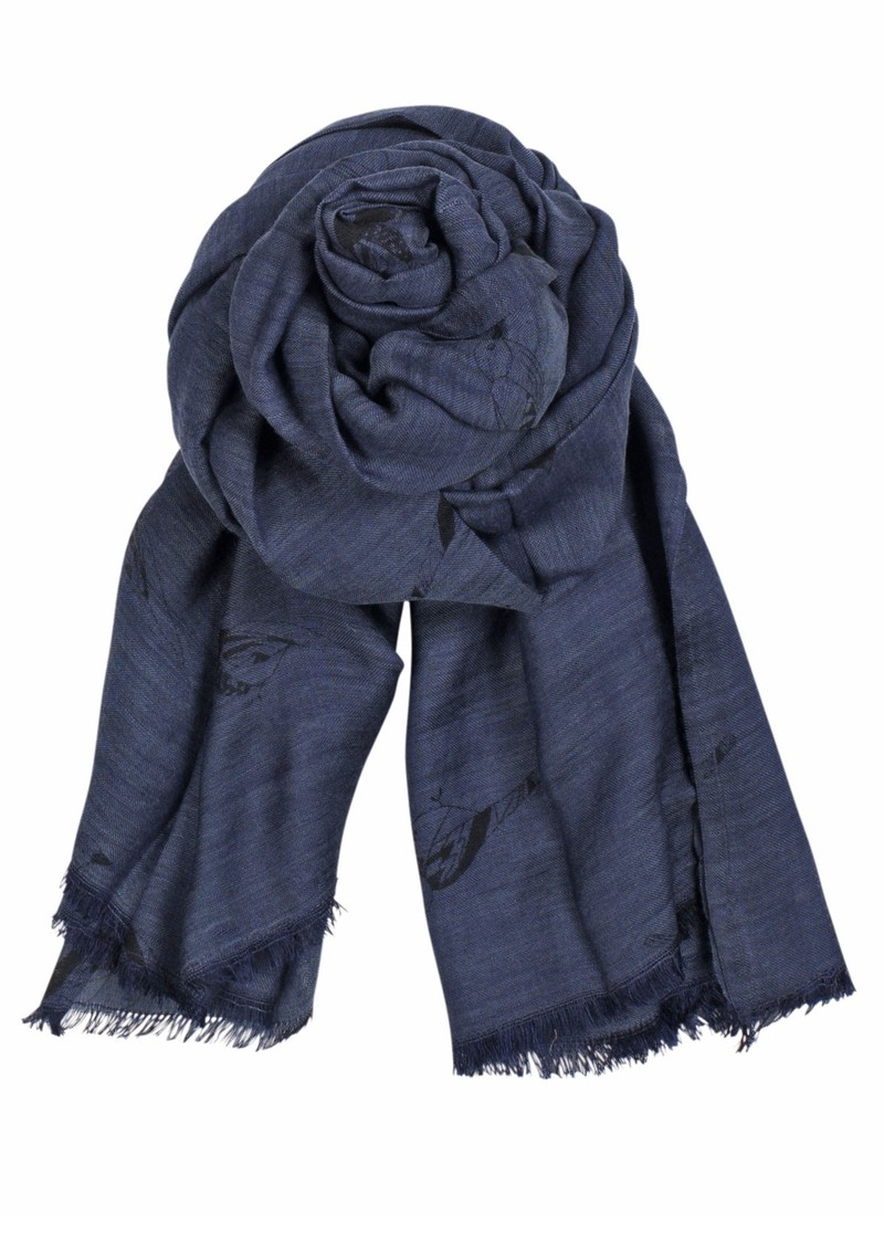 X Sparrow Wool & Silk Blend Scarf - Navy main image