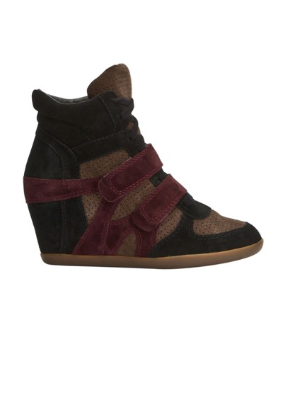 Ash Bea Wedge Trainer - Black, Taupe & Prune main image