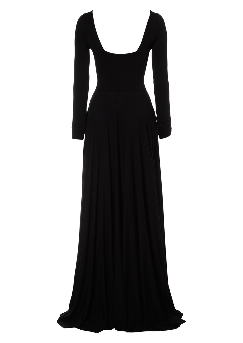 Cross Over Long Sleeve Gown - Black main image