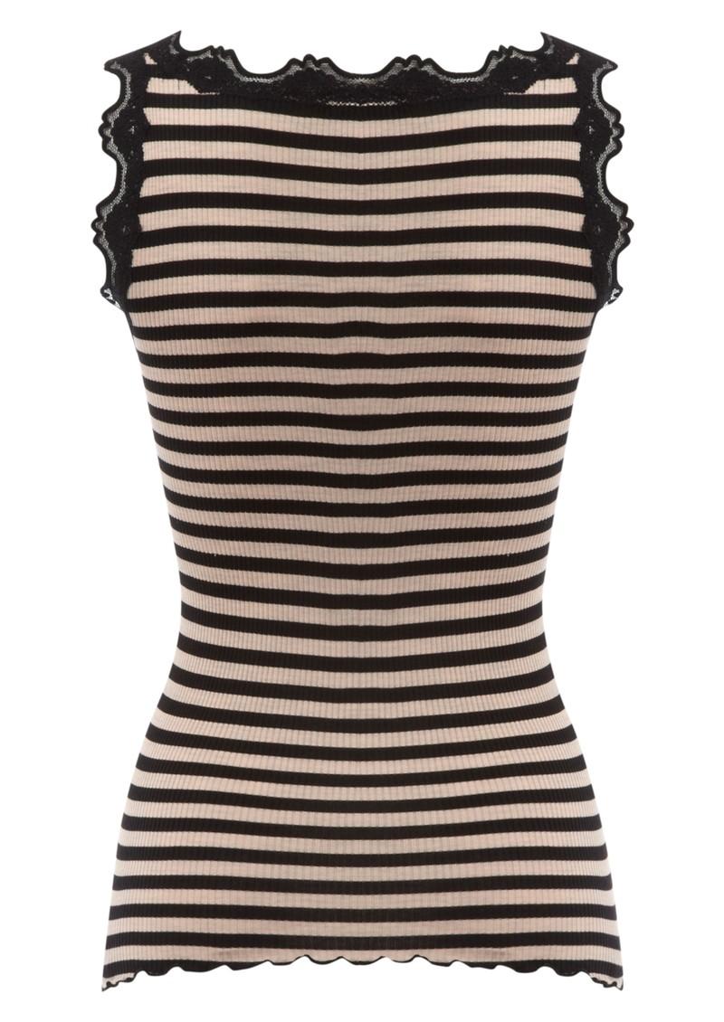 Rosemunde Stripe Silk Lace Vest - Black main image