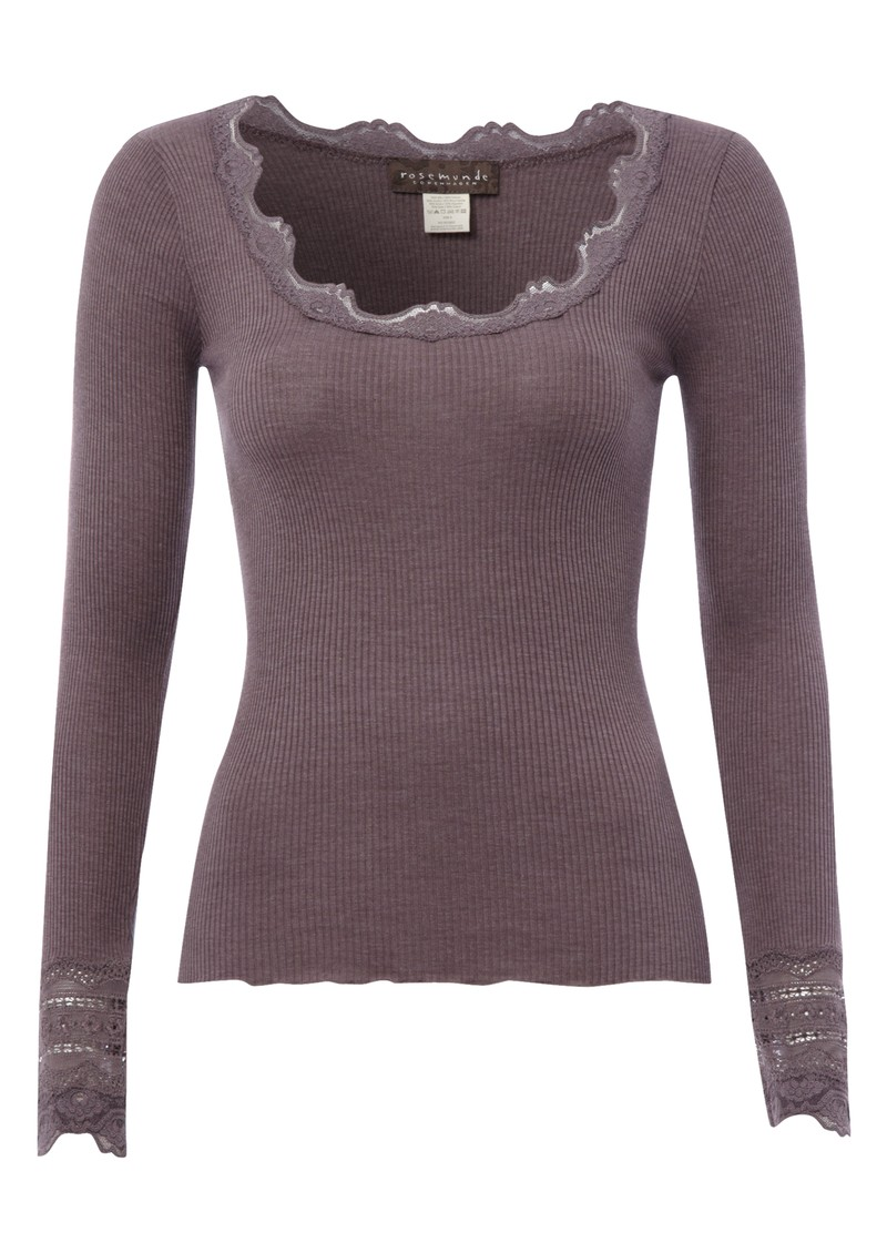 Long Sleeve Silk Blend Lace Top - Plum main image