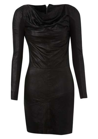 Muubaa Sofia Cowl Neck Leather Dress - Black main image