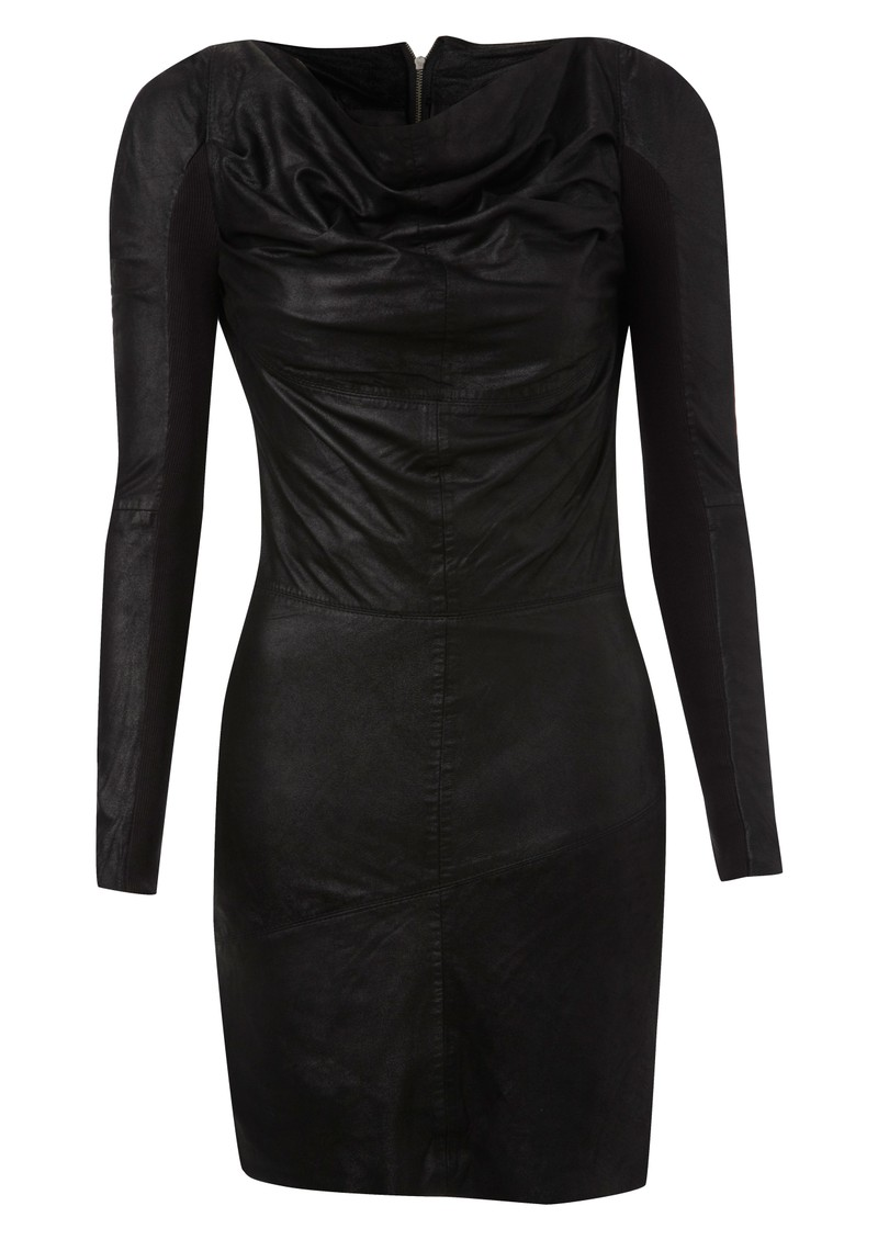 Sofia Cowl Neck Leather Dress - Black main image