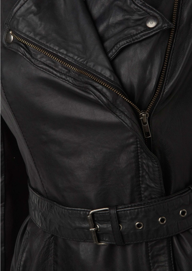 Jena Long Leather Mac - Black main image